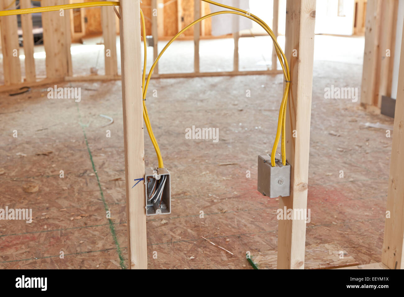 elektroinstallation im haus neubau stockfoto bild 78055094 alamy. Black Bedroom Furniture Sets. Home Design Ideas