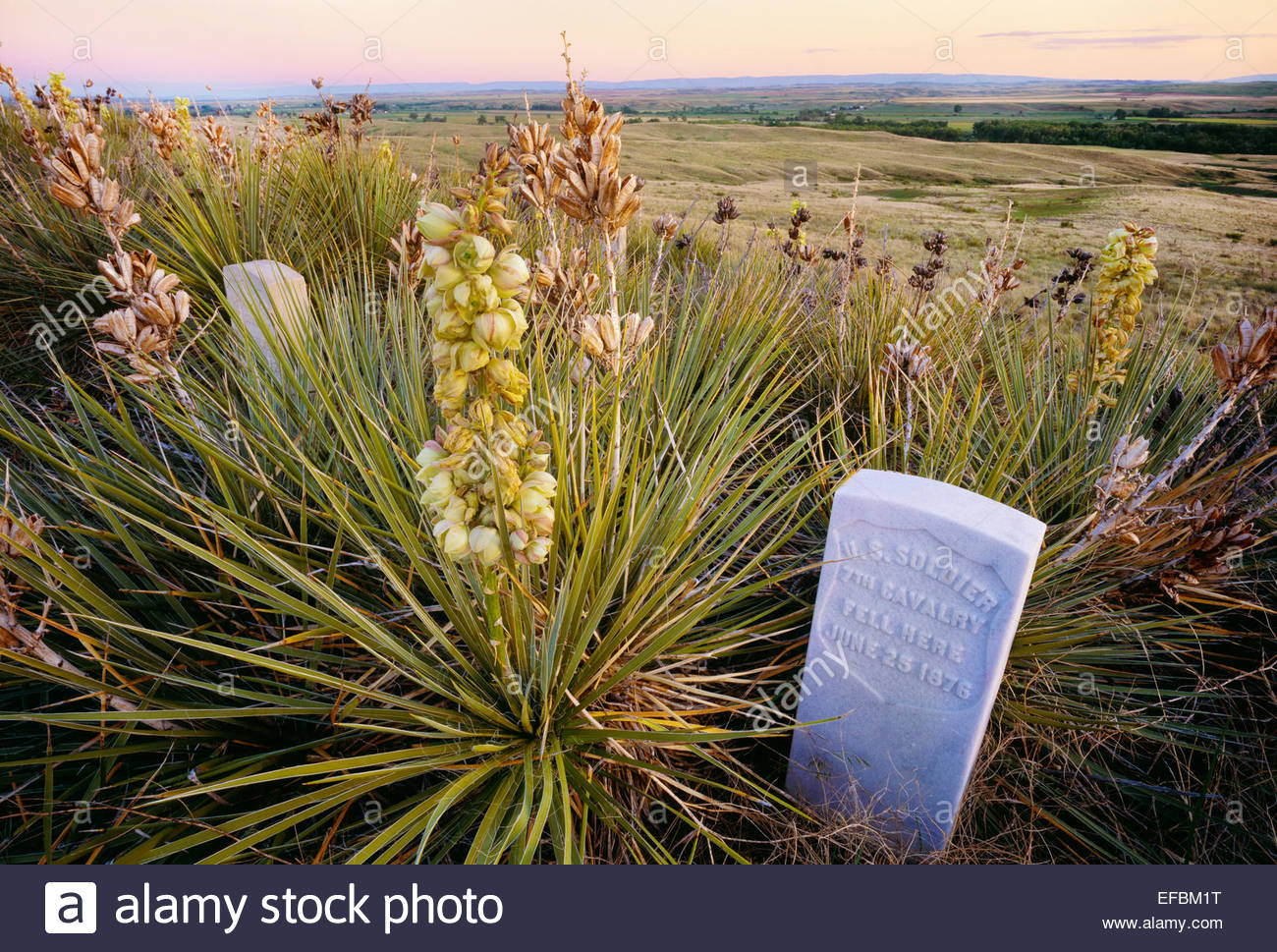Memorial Marker für ungenannte US-Soldat, Little Bighorn Battlefield National Monument, Montana. Stockbild