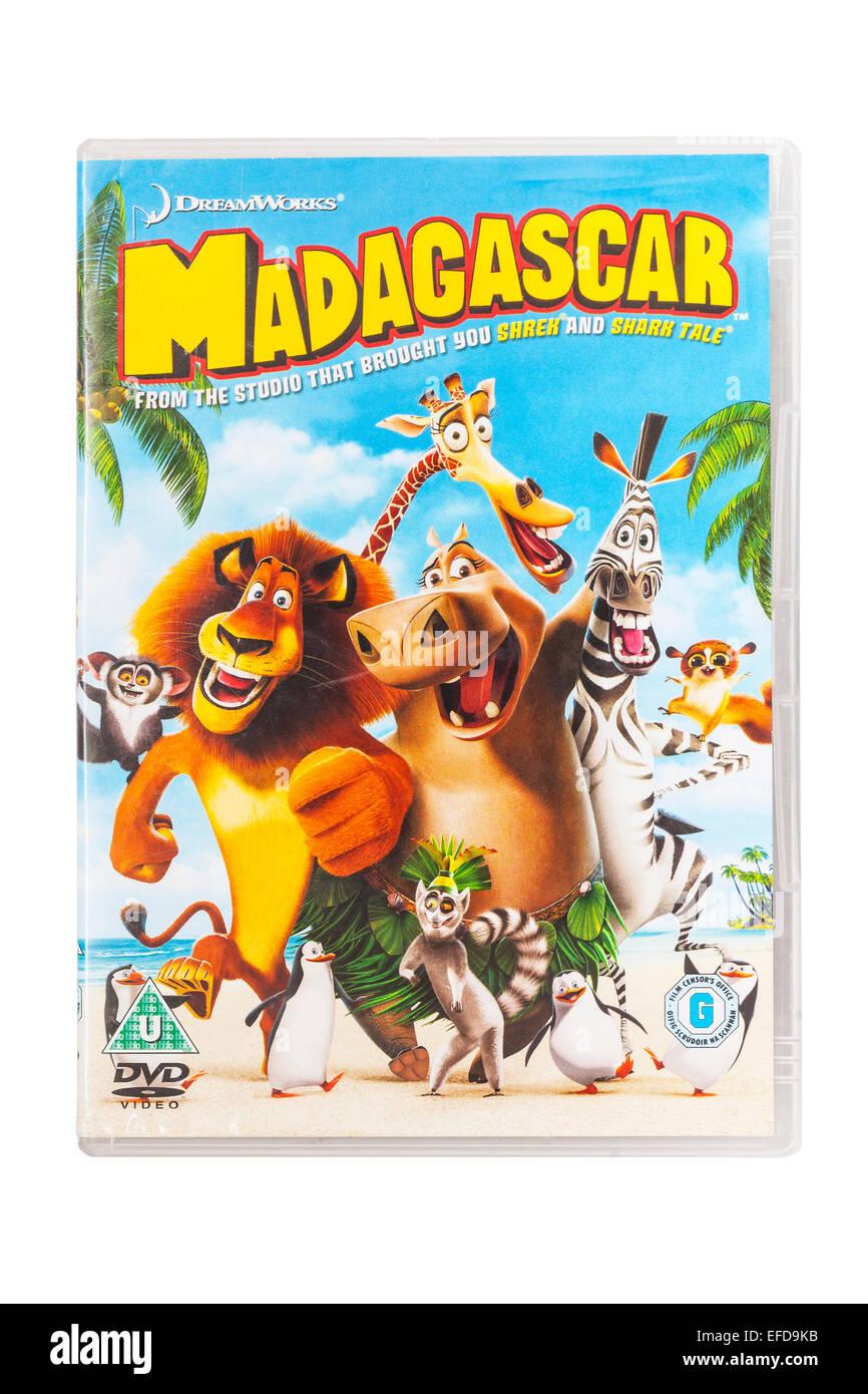Madagaskar Film DVD auf weißem Hintergrund Stockbild