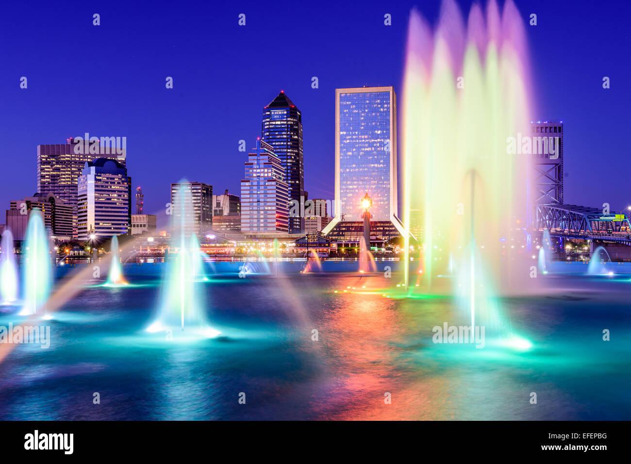 Jacksonville, Florida, USA Skyline am Brunnen. Stockbild