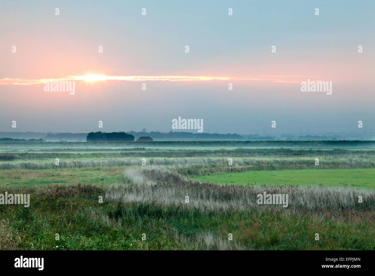 Sonnenuntergang in Aldeburgh Sümpfe, Suffolk, England, Vereinigtes Königreich, Europa Stockbild