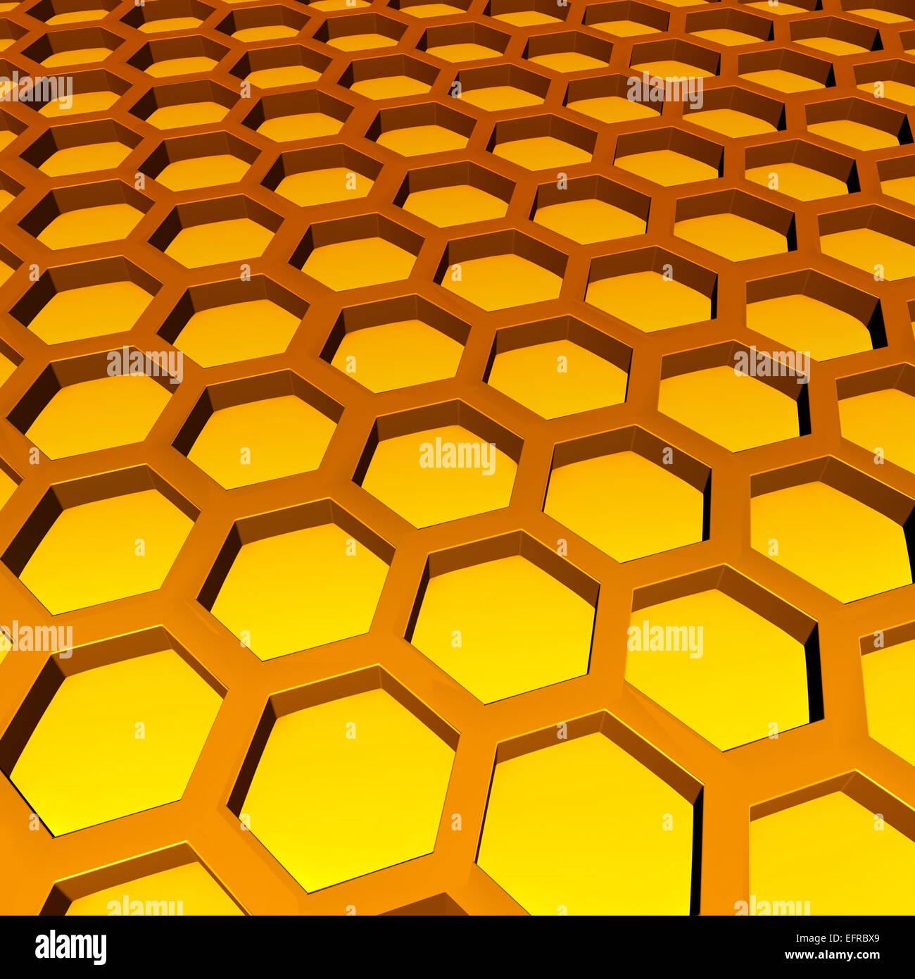 Waben Sie-Muster als drei dimensionale Sechseck Zelle Geometrien mit süßem Honig im Inneren als ein Symbol Stockbild