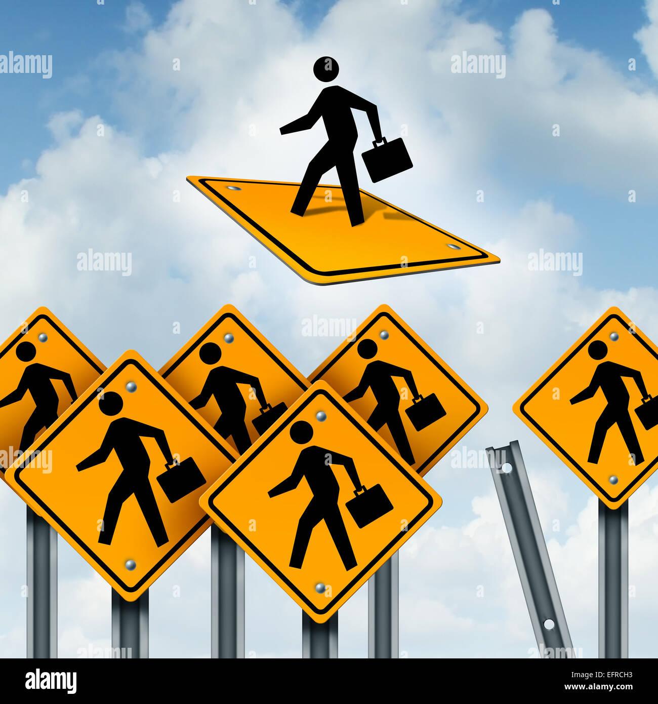 Gewinner-Konzept und Leiter der Business-Wettbewerb als eine Gruppe von Verkehrszeichen mit Arbeitern und ein ehrgeiziges Stockbild