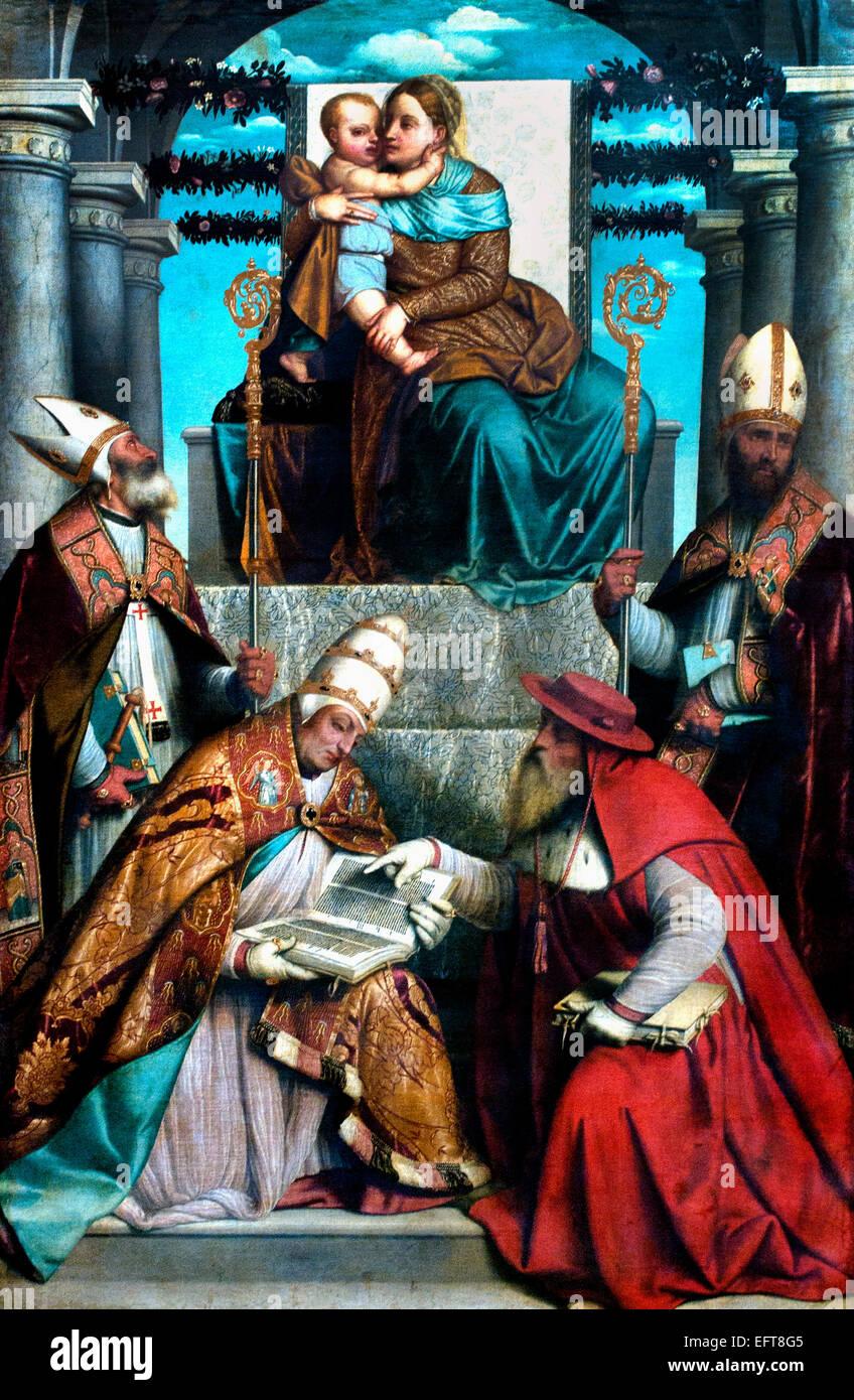 Jungfrau und Kind inthronisiert mit vier Väter von der lateinischen Kirche 1540 Alessandro Bonvicino (1498 Stockbild