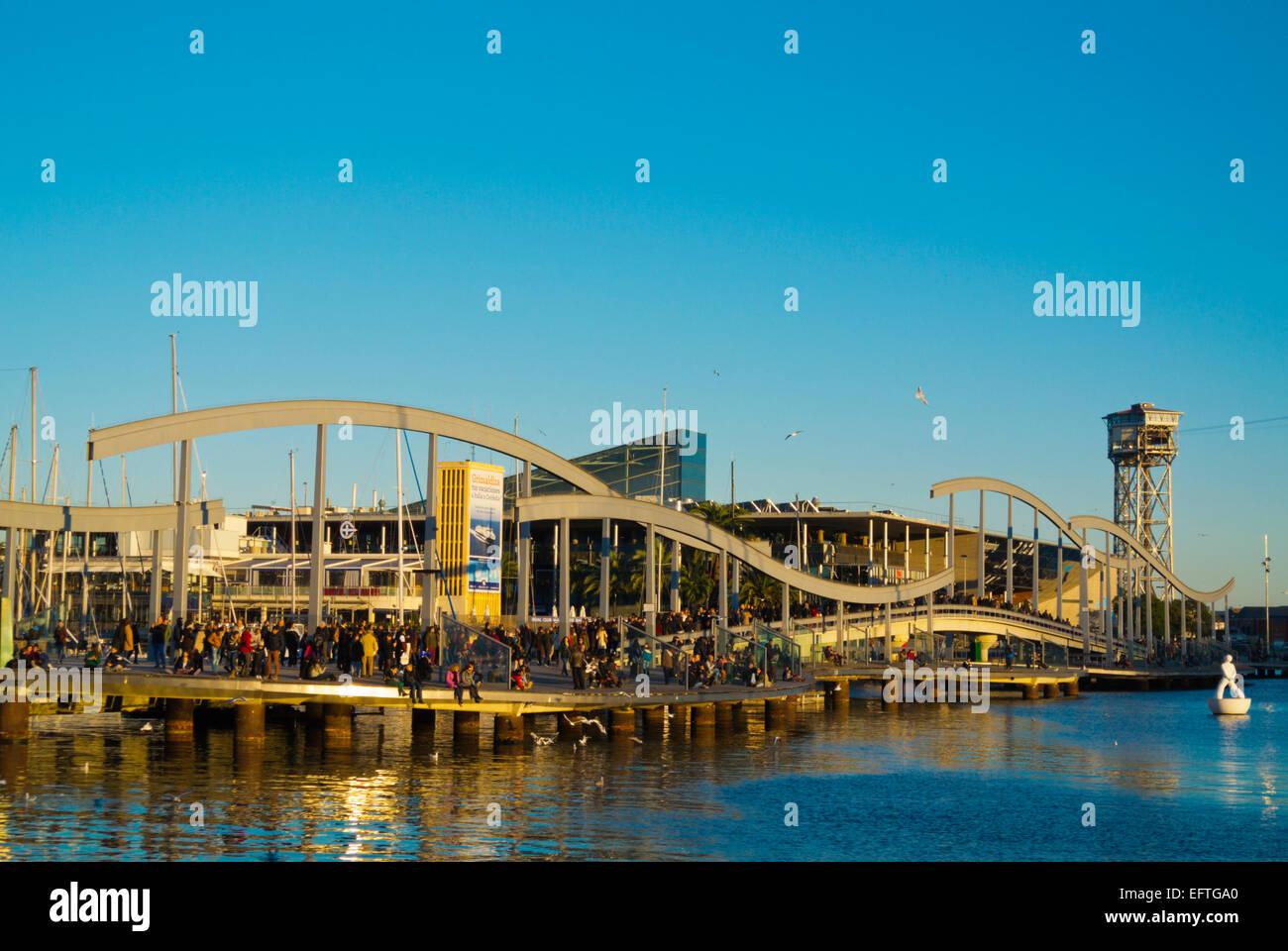 Rambla de Mar, Port Vell, Barcelona, Spanien Stockbild