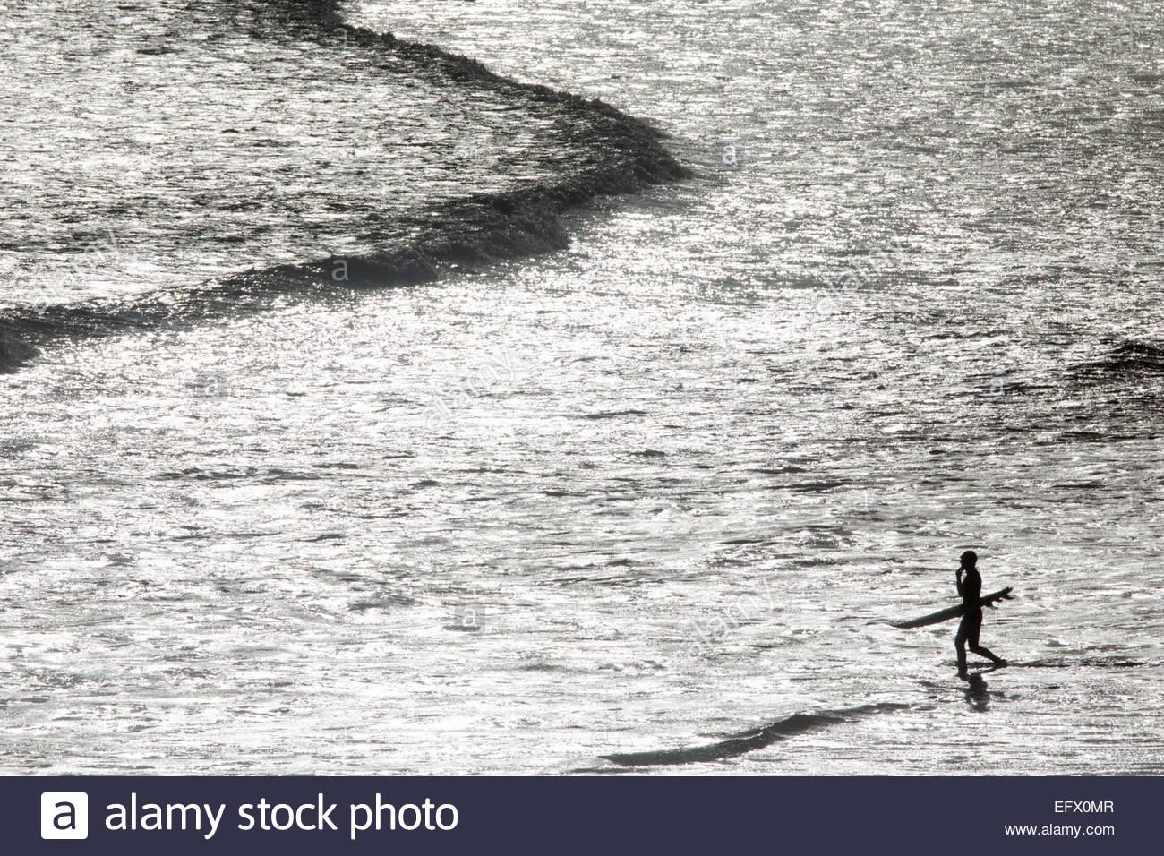 Surfer mit Surfbrett, waten heraus zum Meer Stockbild
