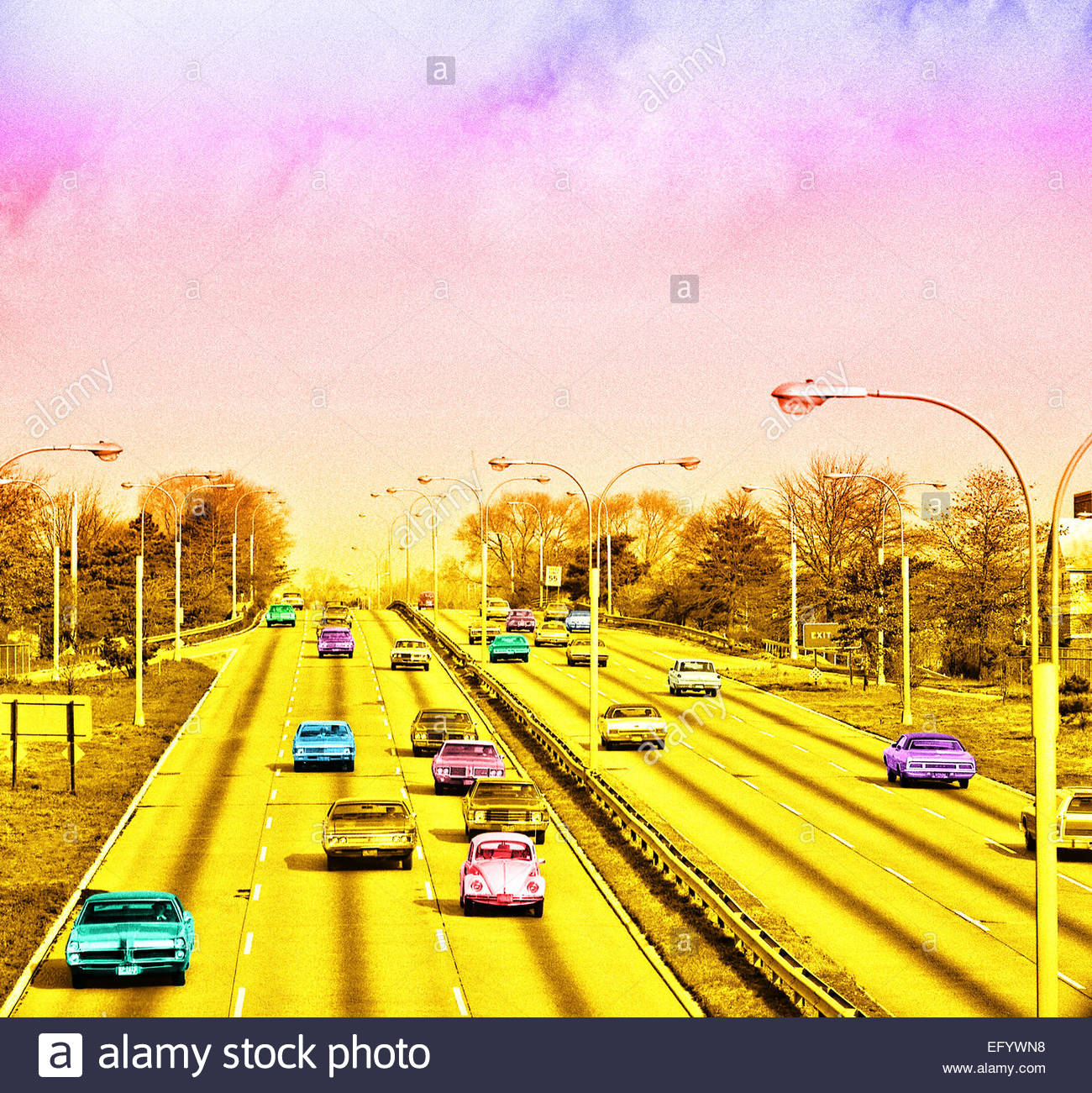 Amerikanische Oldtimer freeway Retro körnigen Bild Stockbild