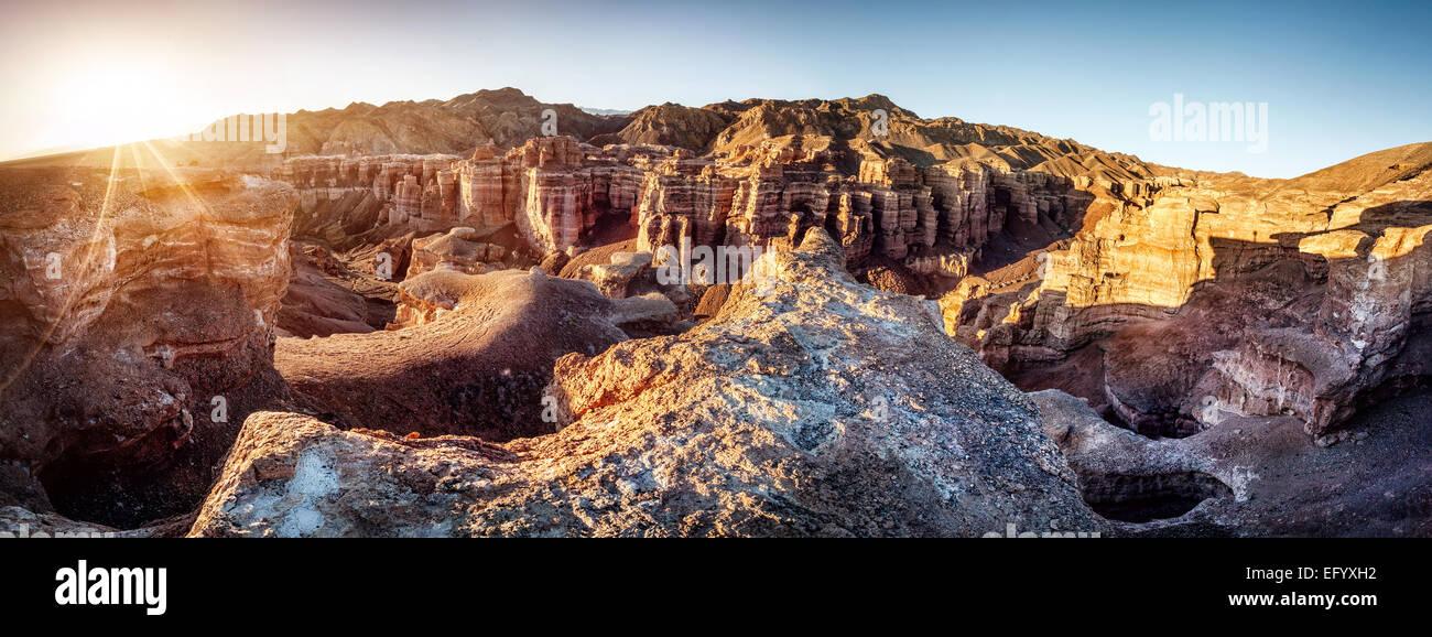 Tscharyn Grand Canyon bei Sonnenaufgang in Kasachstan Stockbild