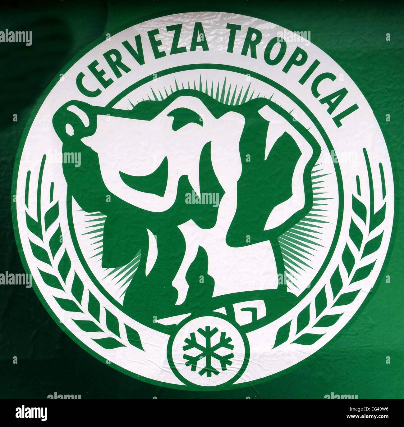 "Logo der Kanarischen Inseln Bier ""Tropisch"", Las Palmas de Gran Canaria Stockfoto"