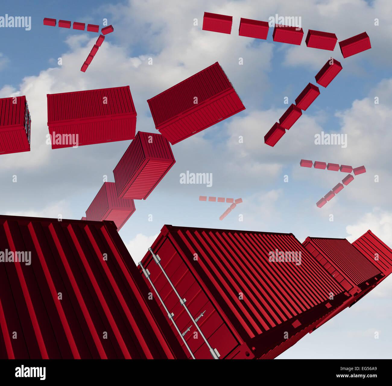 Cargo Air Versand-Konzept als eine Gruppe von roten Transportbehälter organisiert in Form eines Vogels Herde Stockbild