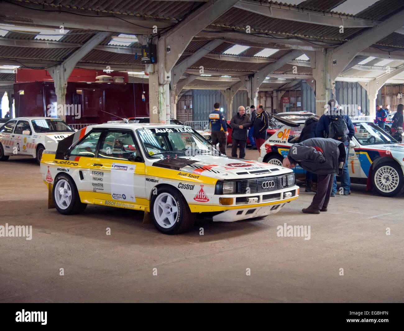 Warwickshire, UK. 21. Februar 2015. Audi Quattro Sport Gruppe B Rally Car im Fahrerlager am Rennen Retro Veranstaltung Stockbild