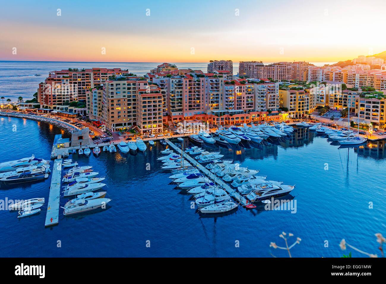 Monaco, Fontvielle Hafen Stockbild