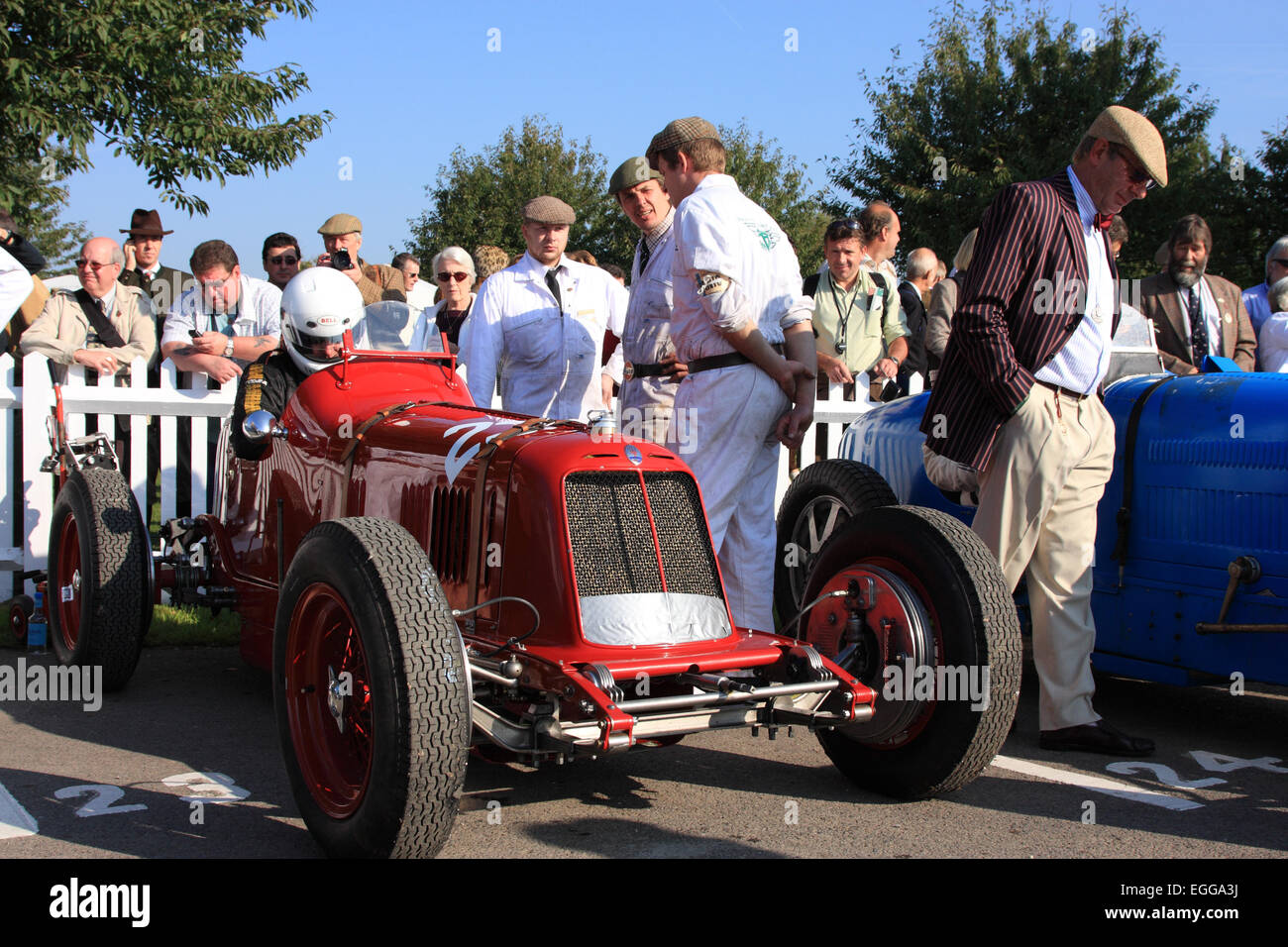 1935-Maserati 4CM im Montagebereich / Goodwood Revival / Goodwood / UK Stockbild