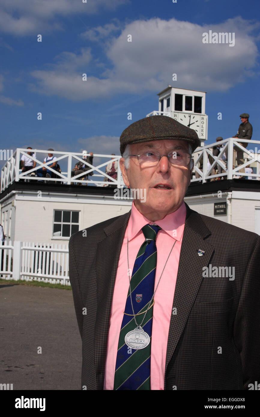 Welt-berühmten Motorsport-Kommentator Murray Walker / Goodwood Revival / Goodwood / West Sussex / UK Stockbild