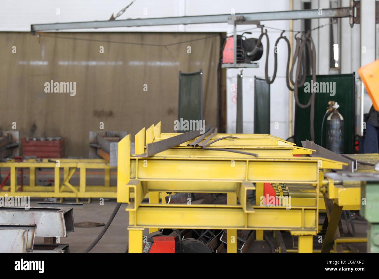 Ort der Montage und Herstellung von Metallkonstruktionen Stockbild