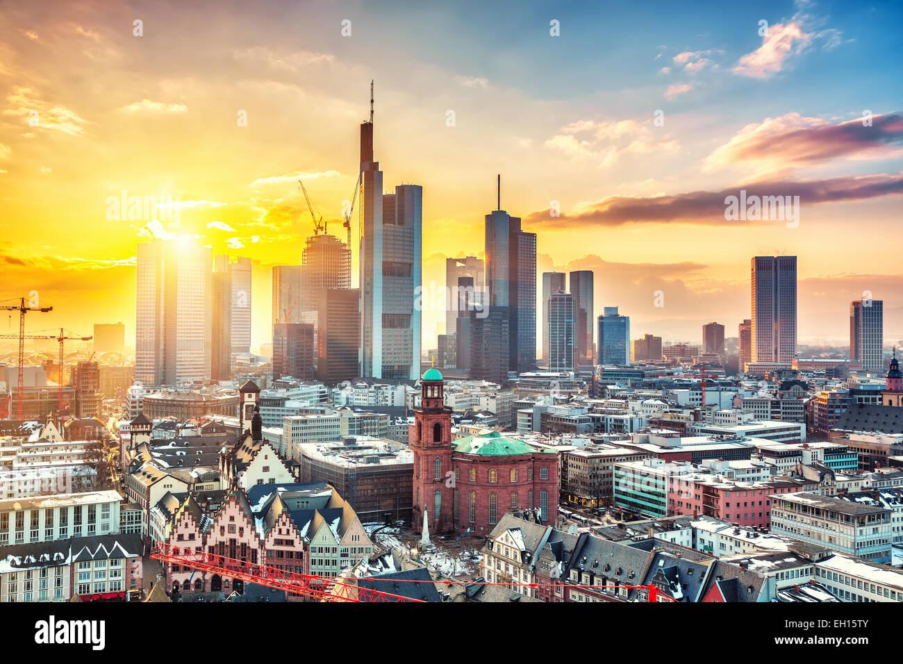 Frankfurt bei Sonnenuntergang Stockbild