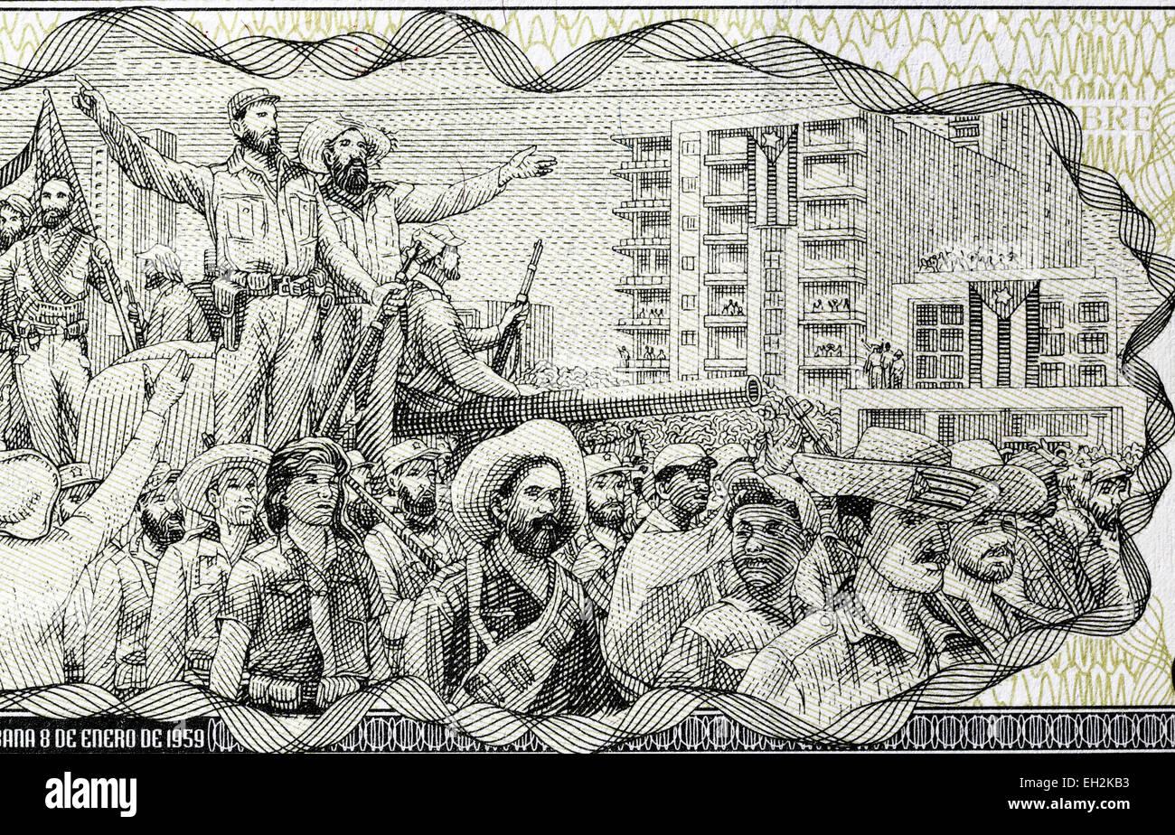 Fidel Castro und Sieg-Parade-Szene aus 1-Peso-Banknote, Kuba, 2010 Stockbild