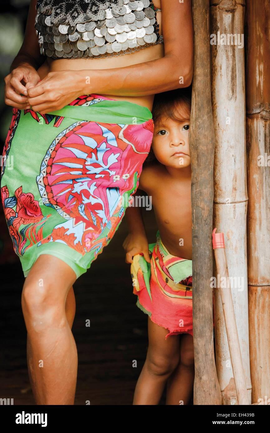 Panama, Darien Provinz Darien National Park, Weltkulturerbe der UNESCO, Embera Indianergemeinde, Portrait eines Stockfoto
