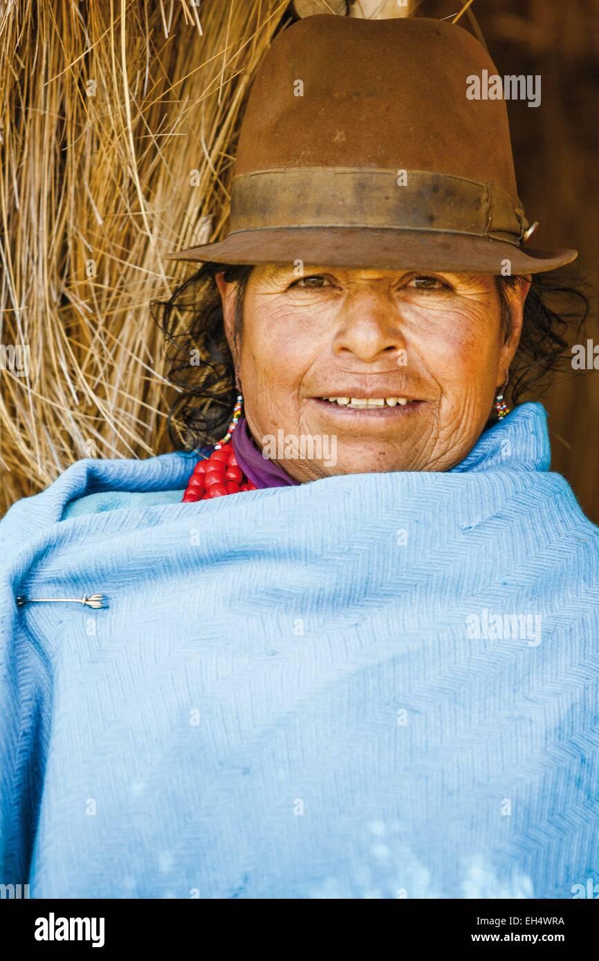 Ecuador, Cotopaxi, Tigua, Porträt eines ecuadorianischen Bauern Stockbild