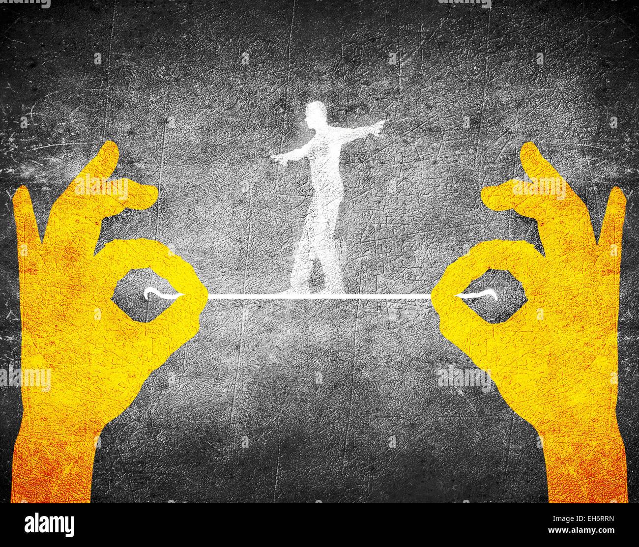 Orange Hände und Seiltänzer Stockbild
