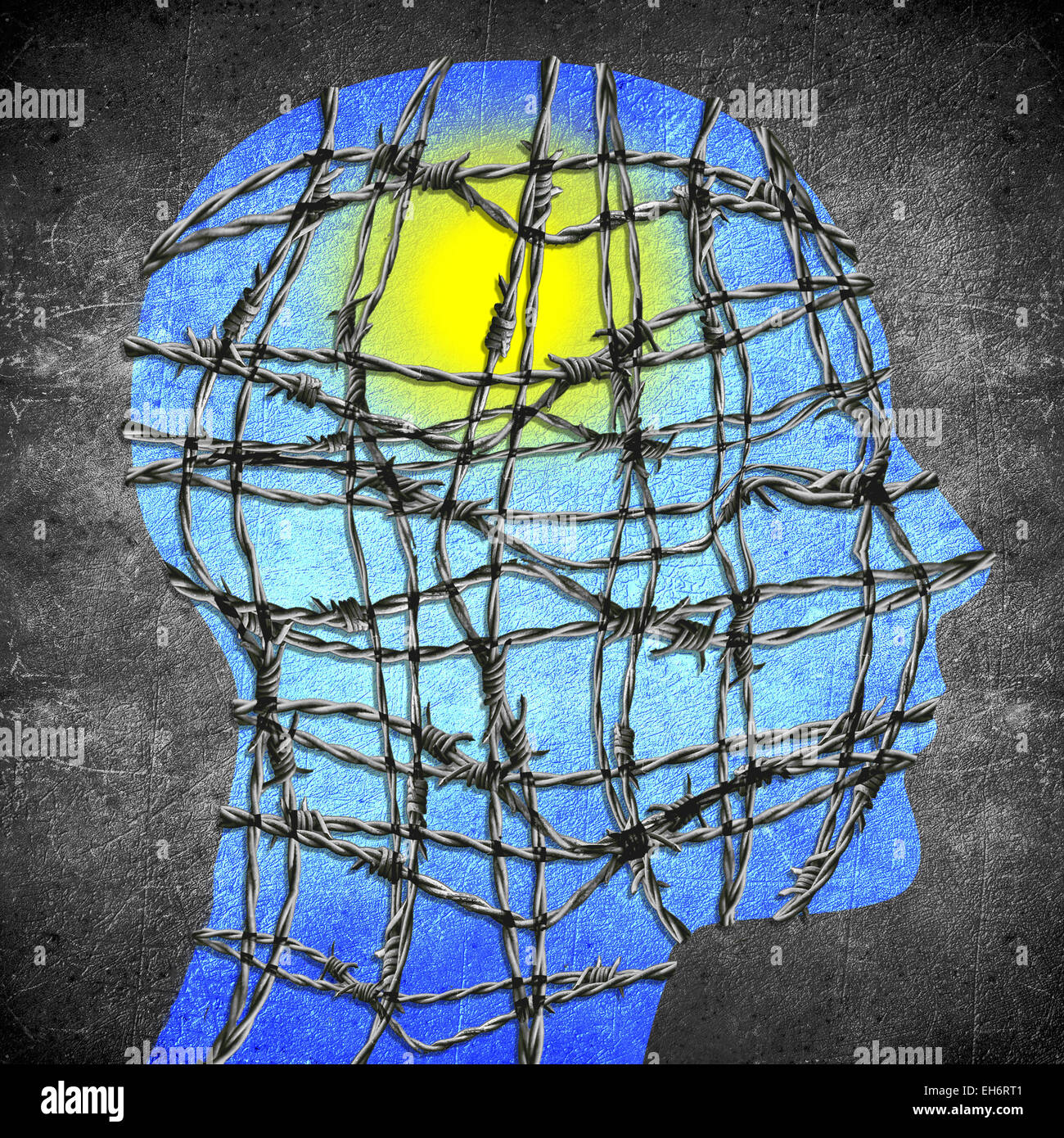 Kopf-Silhouette mit Stacheldraht Sonne und blauer Himmel digitale illustration Stockbild
