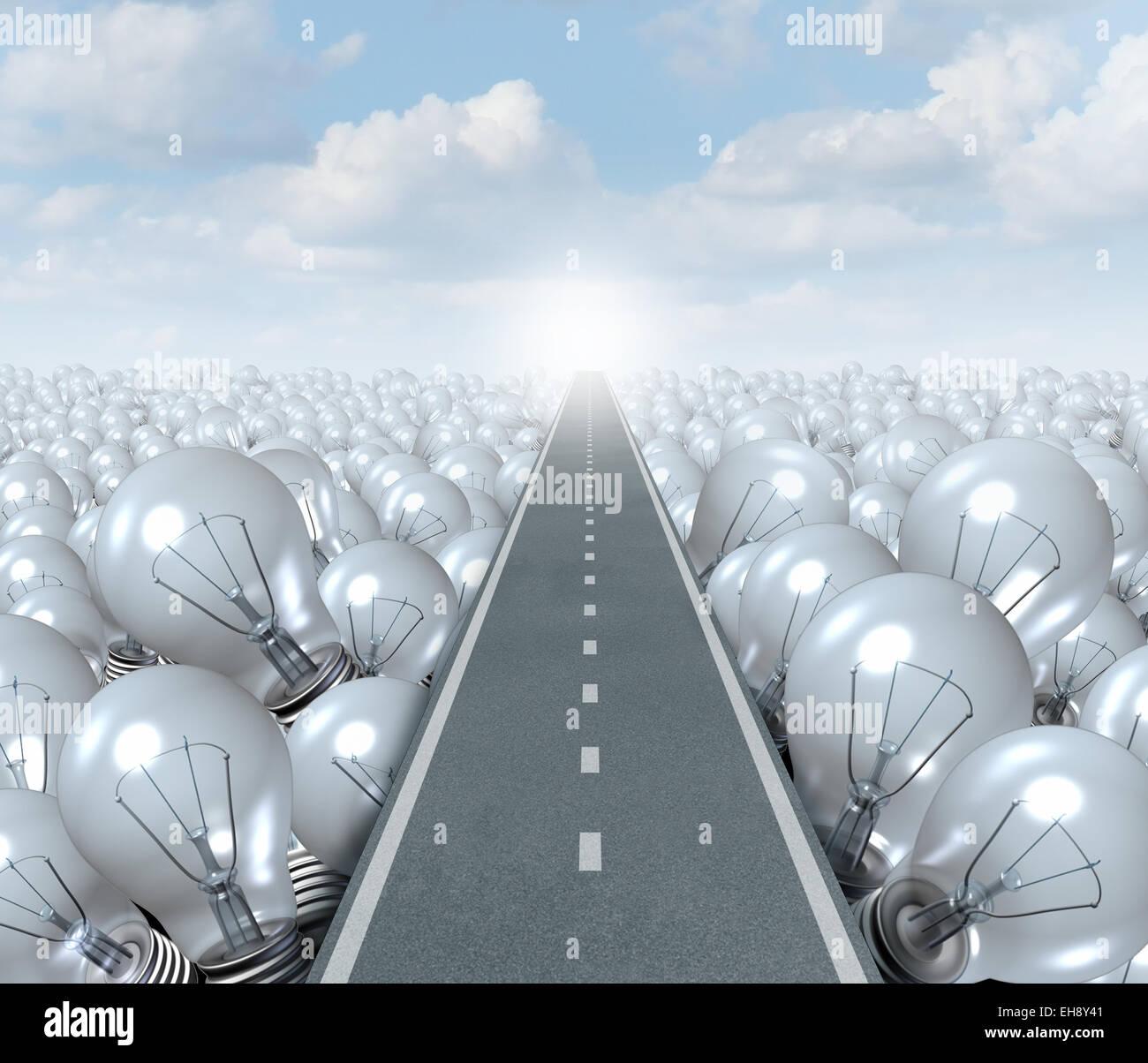 Idee-Straße und kreativen Weg-Business-Konzept als Straße oder Autobahn schneiden durch eine Landschaft Stockbild