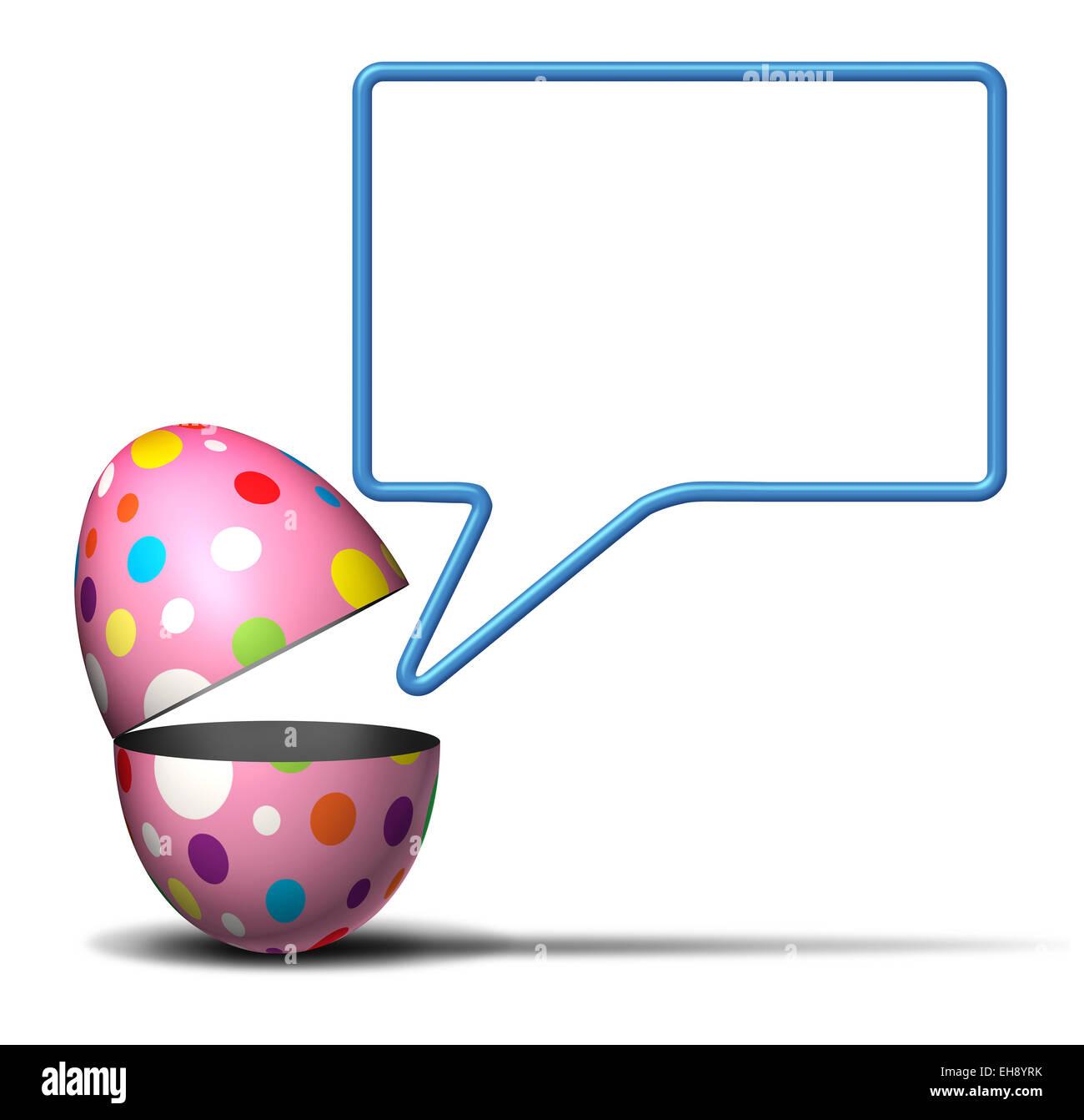 Ostern Nachricht Konzept als eine offene festlich dekorierten Frühling Ei mit einer sprechenden Blase auf einem Stockbild