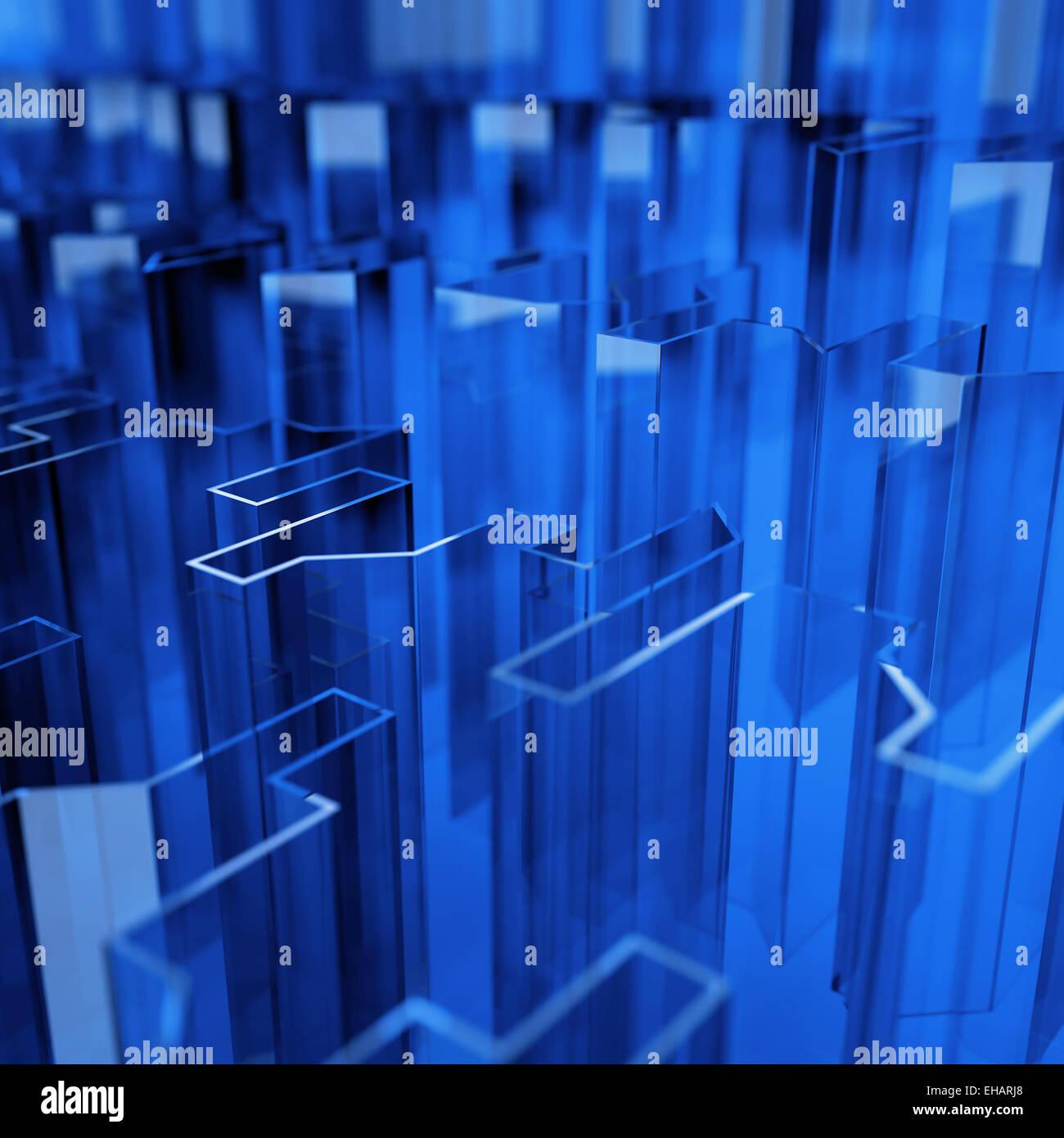 blaues Glas akute abgewinkelt Abstraktion Stockbild