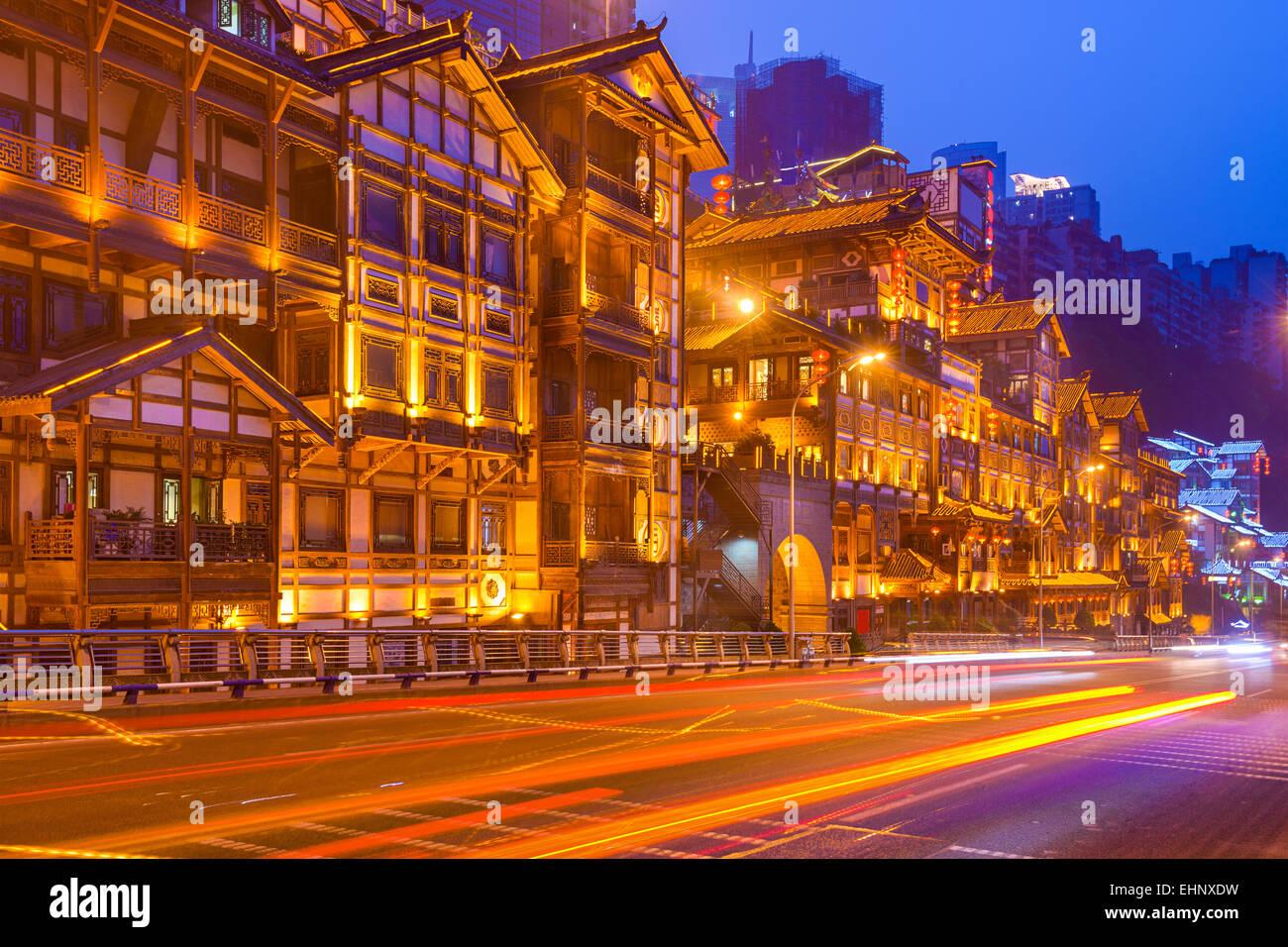 Chongqing, China Stadtbild am Hongyadong Hügel Bezirk. Stockbild