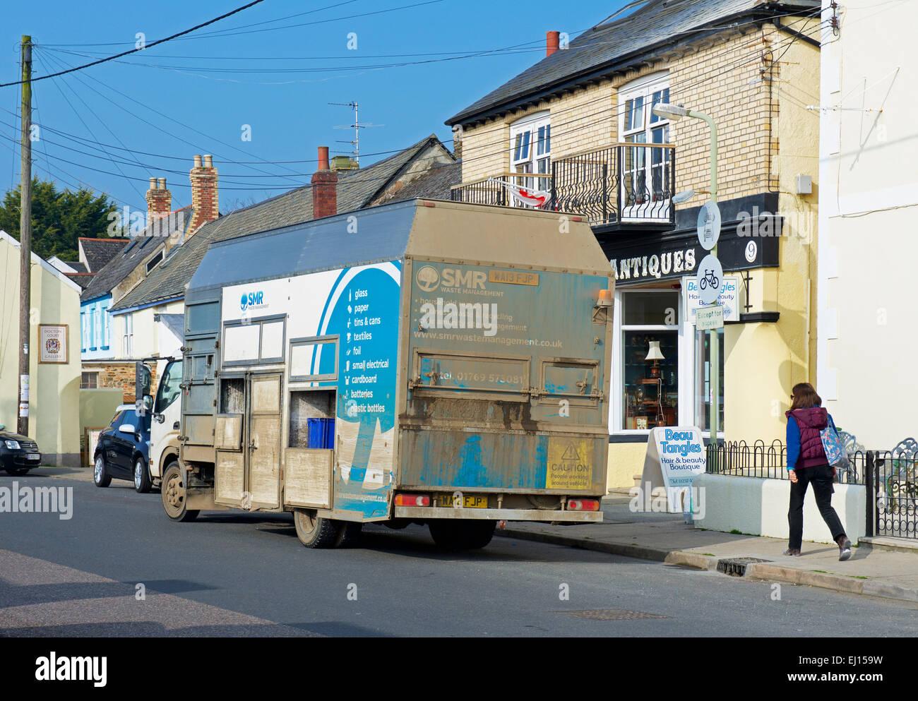 Recycling-van in Appledore, Devon. England-UK Stockbild