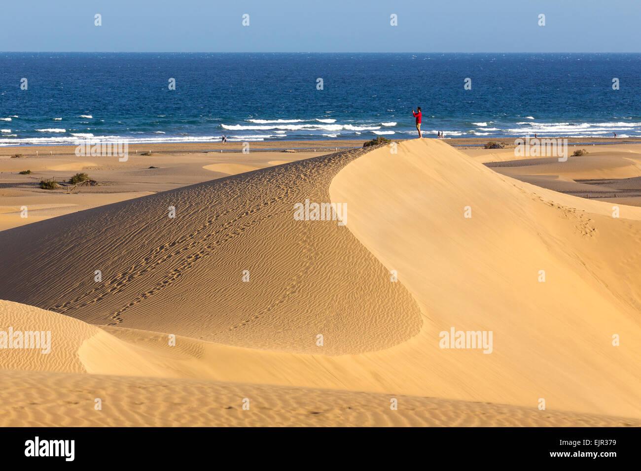 Düne-Strand von Maspalomas, Gran Canaria, Kanarische Inseln, Spanien Stockbild