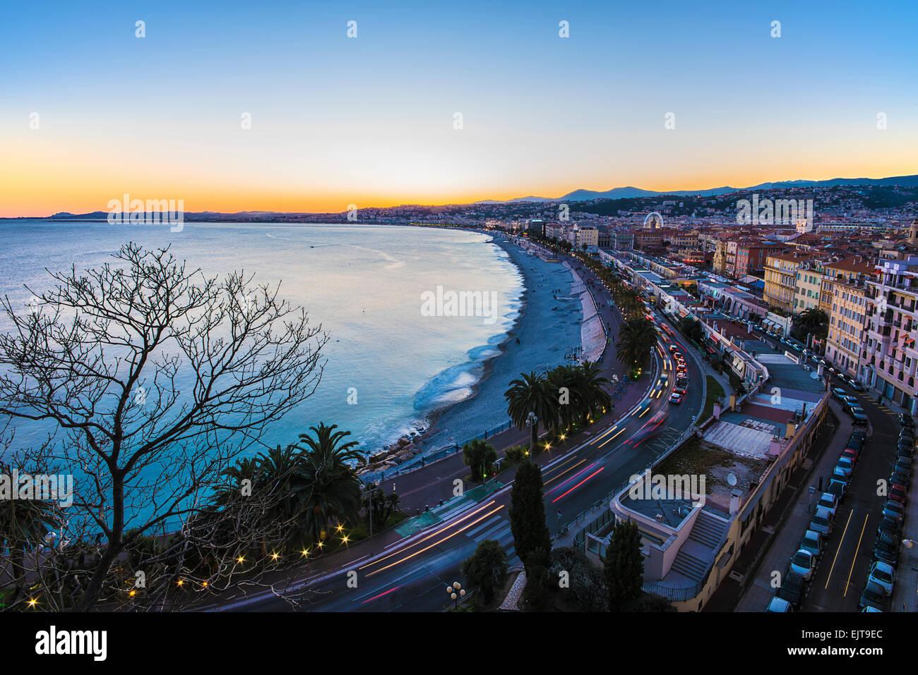 Sonnenuntergang über Nizza Stockbild