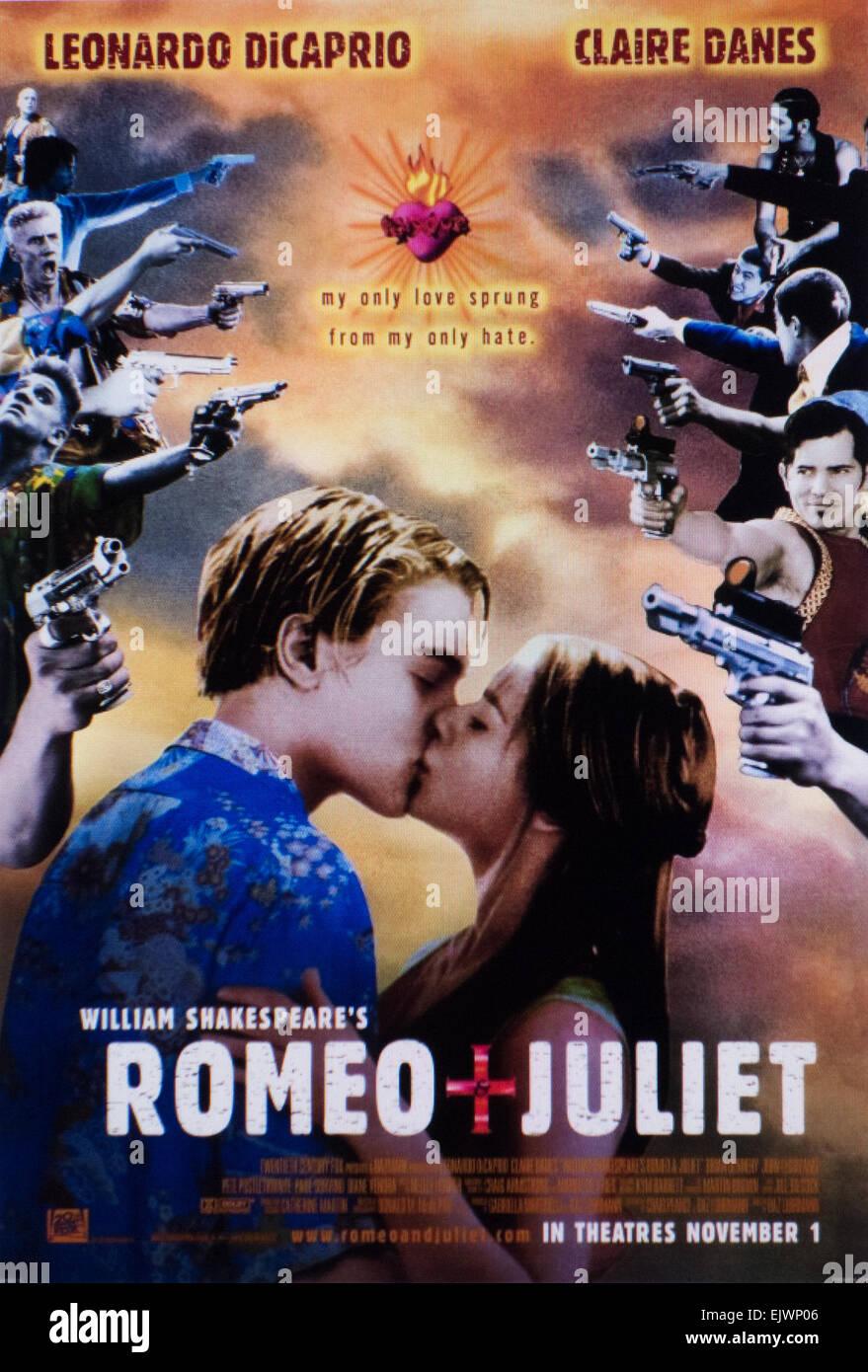 """""""Romeo und Julia"""" Filmplakat 1996 Stockbild"""