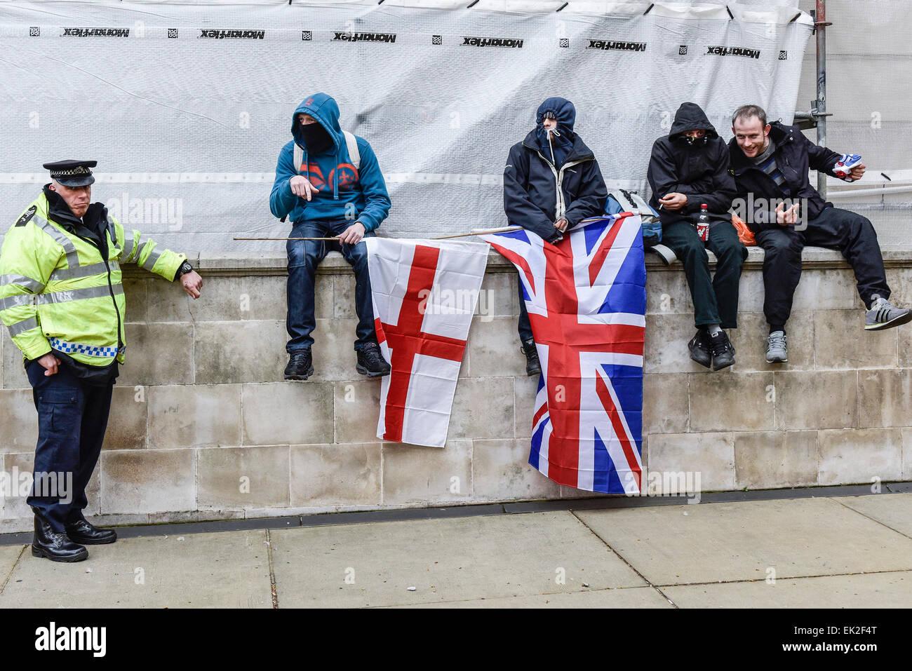 Anhänger der pergida in Whitehall. Stockbild