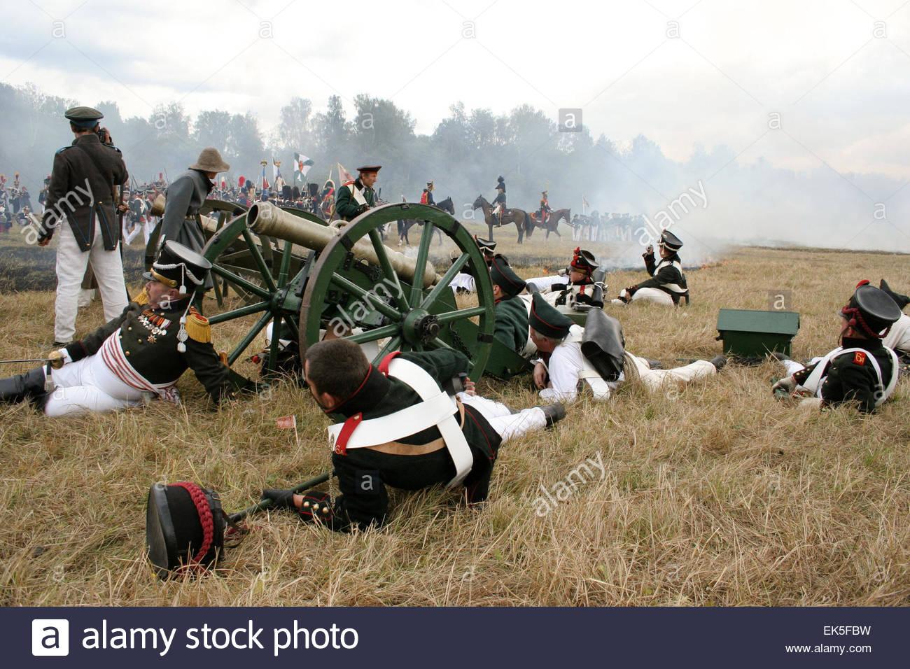 Rekonstruktion der Schlacht von Borodino, jedes Jahr wird der Jahrestag der Schlacht 1812 auf Borodino Field Day, Stockbild