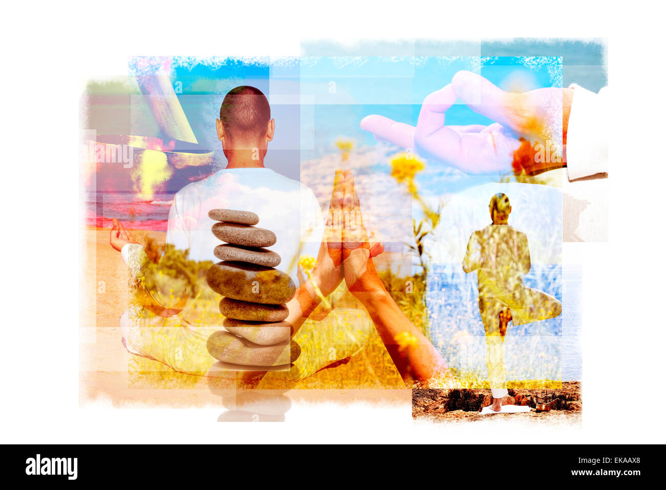 Mehrfachbelichtungen von einem jungen Yogi Mann in verschiedenen Yoga-Positionen im Freien und einen Stapel von Stockbild