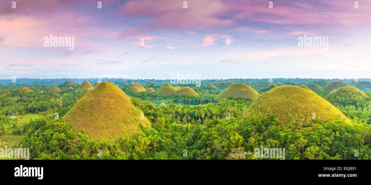 Blick auf die Chocolate Hills. Bohol, Philippinen Stockbild