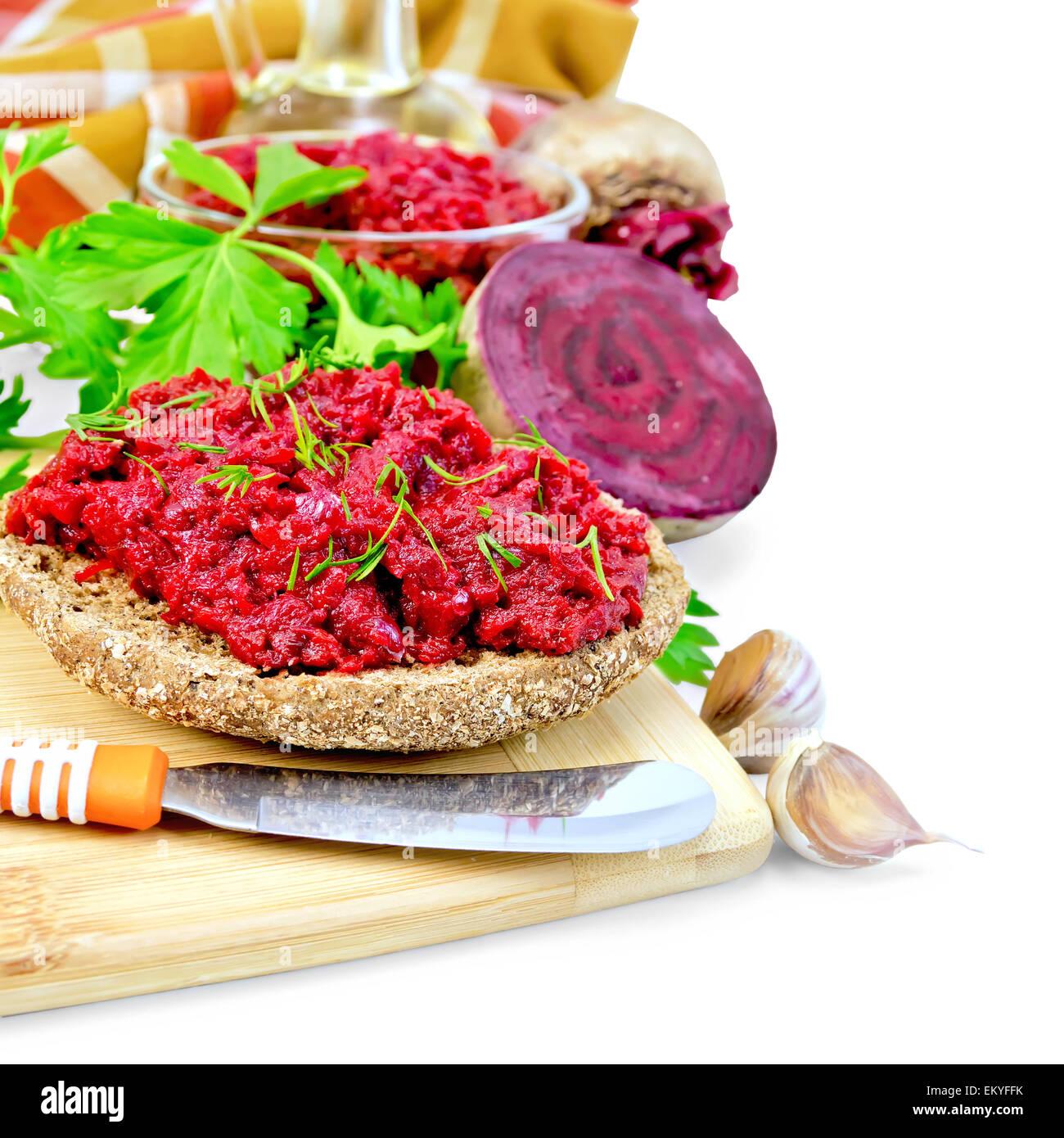 Sandwich mit Rüben Kaviar und Gewürzen Stockbild