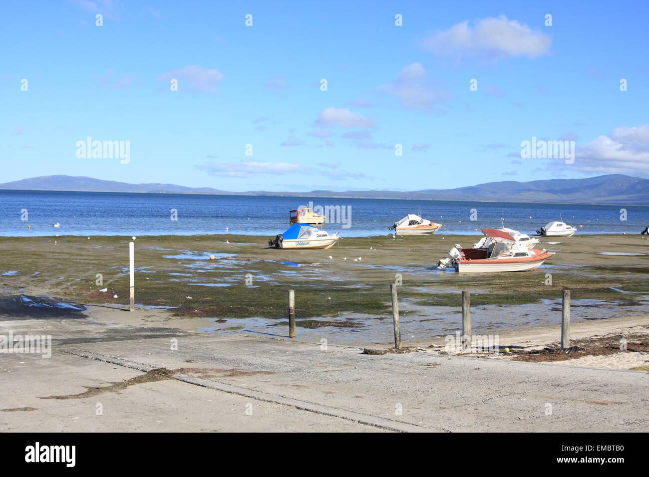 Boote bei Ebbe South Gippsland Victoria Australia Stockbild