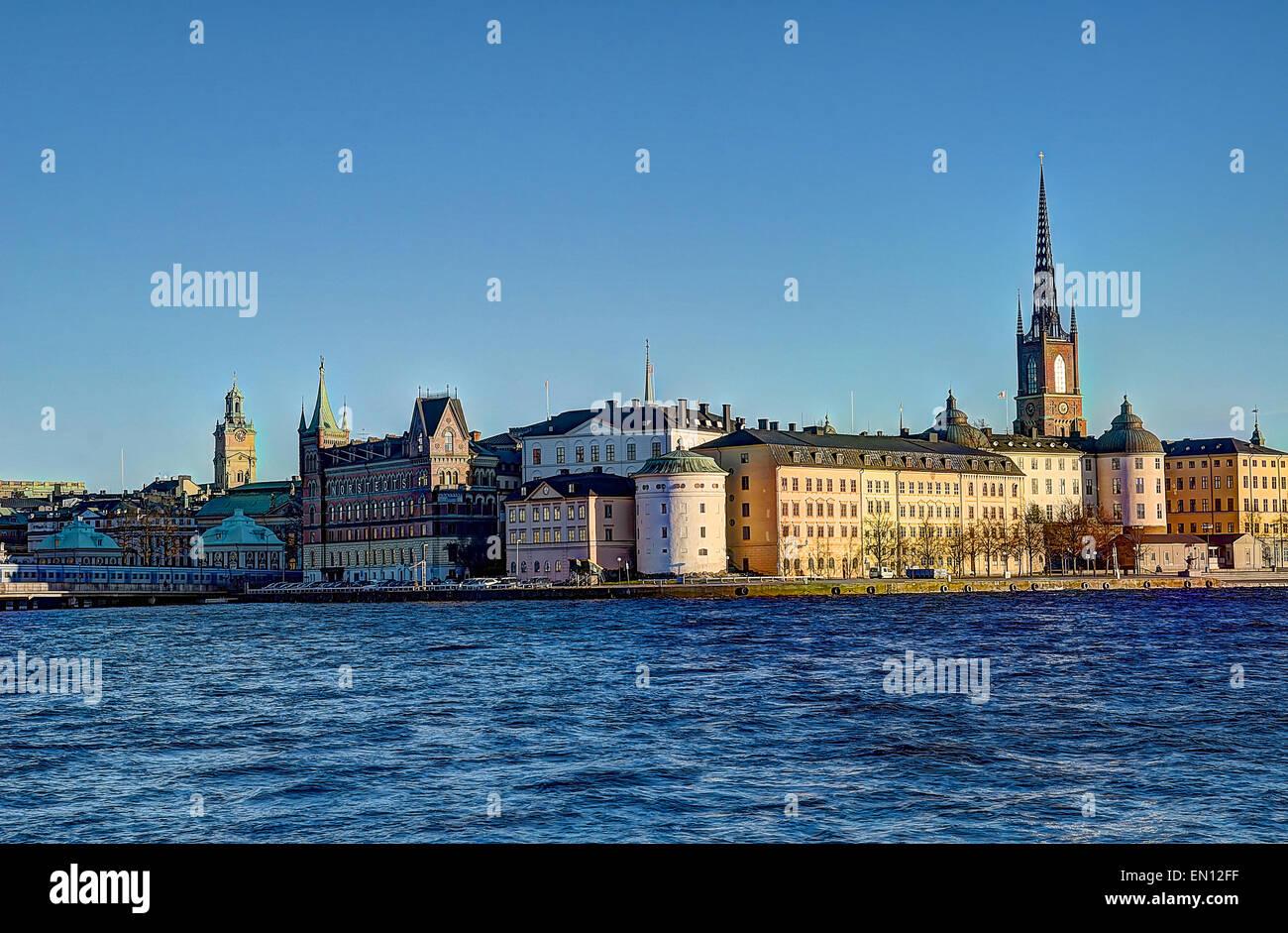 HDR Schweden Stockholm Hauptstadt Wahrzeichen Skandinavisch Stockbild