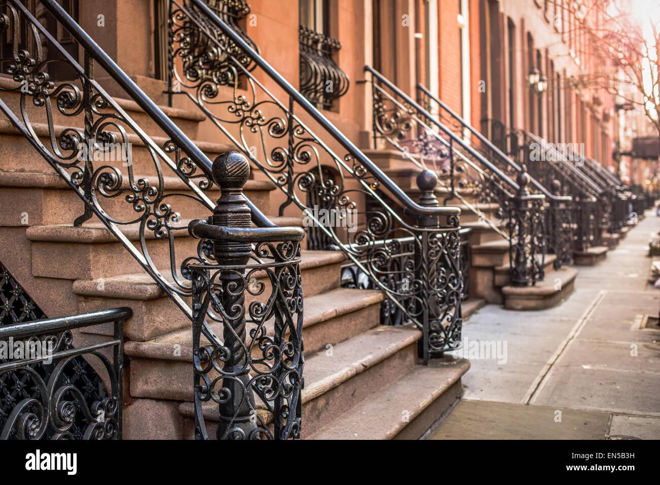 Brownstone Apartment Schritte im Stadtteil Chelsea von New York City. Stockbild