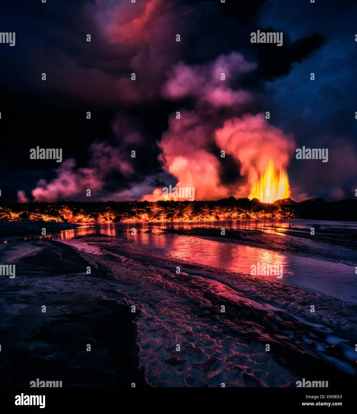 Glühende Lava aus der Eruption des Holuhraun Riss, in der Nähe der Vulkan Bardarbunga, Island. Stockbild