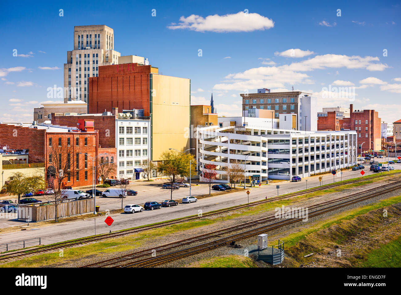 Durham, North Carolina, USA Innenstadt Stadtbild. Stockbild