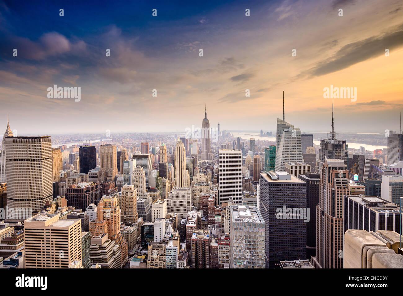Berühmte Skyline von New York City, USA über Manhattan. Stockbild