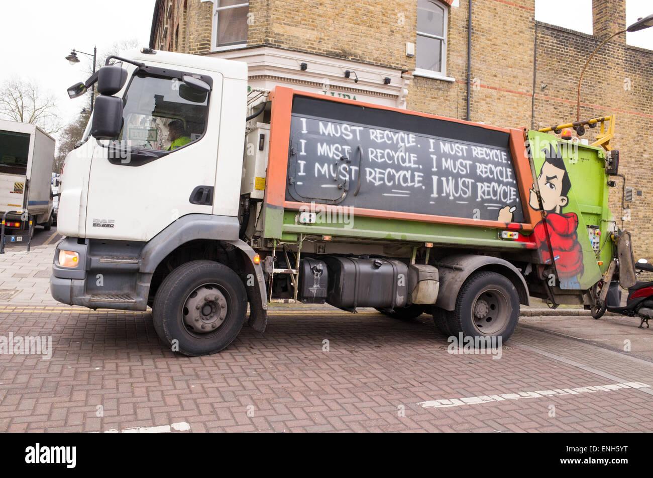 Recycling-LKW, London, England, UK Stockbild