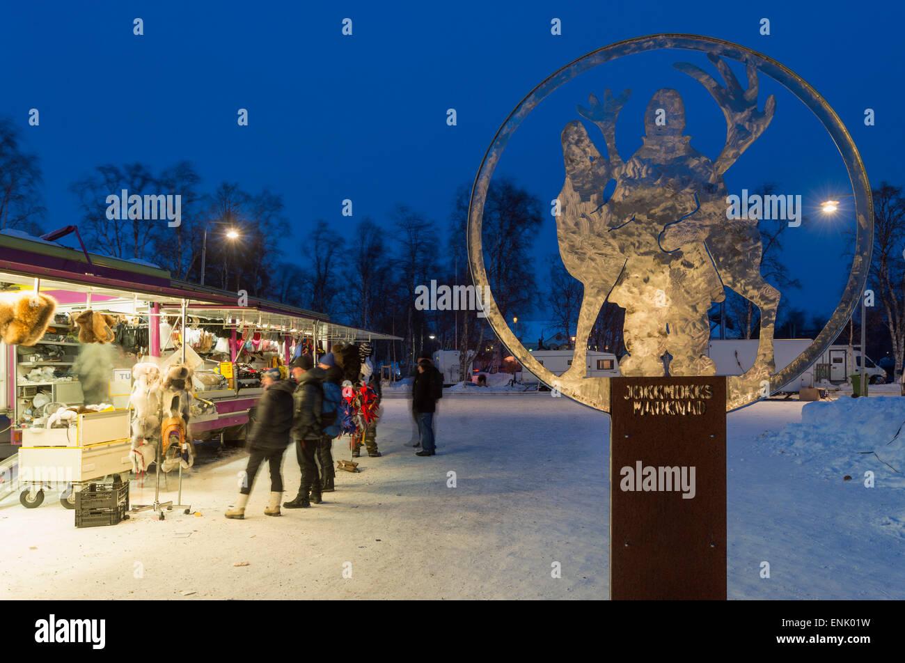 Wintermarkt, Jokkmokk, Lappland, Arctic Circle, Schweden, Skandinavien, Europa Stockbild