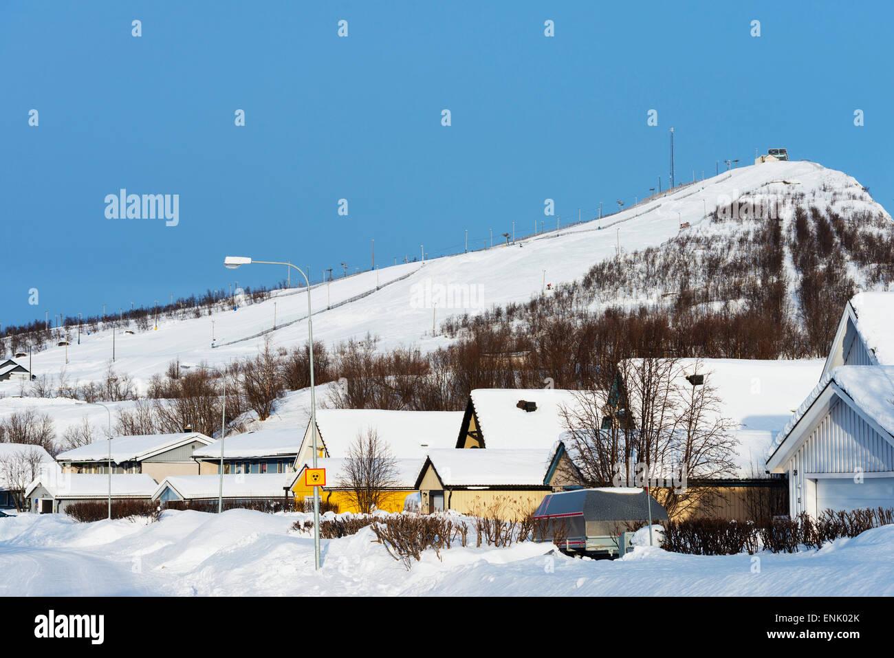 Skipiste, Kiruna, Lappland, Arctic Circle, Schweden, Skandinavien, Europa Stockbild