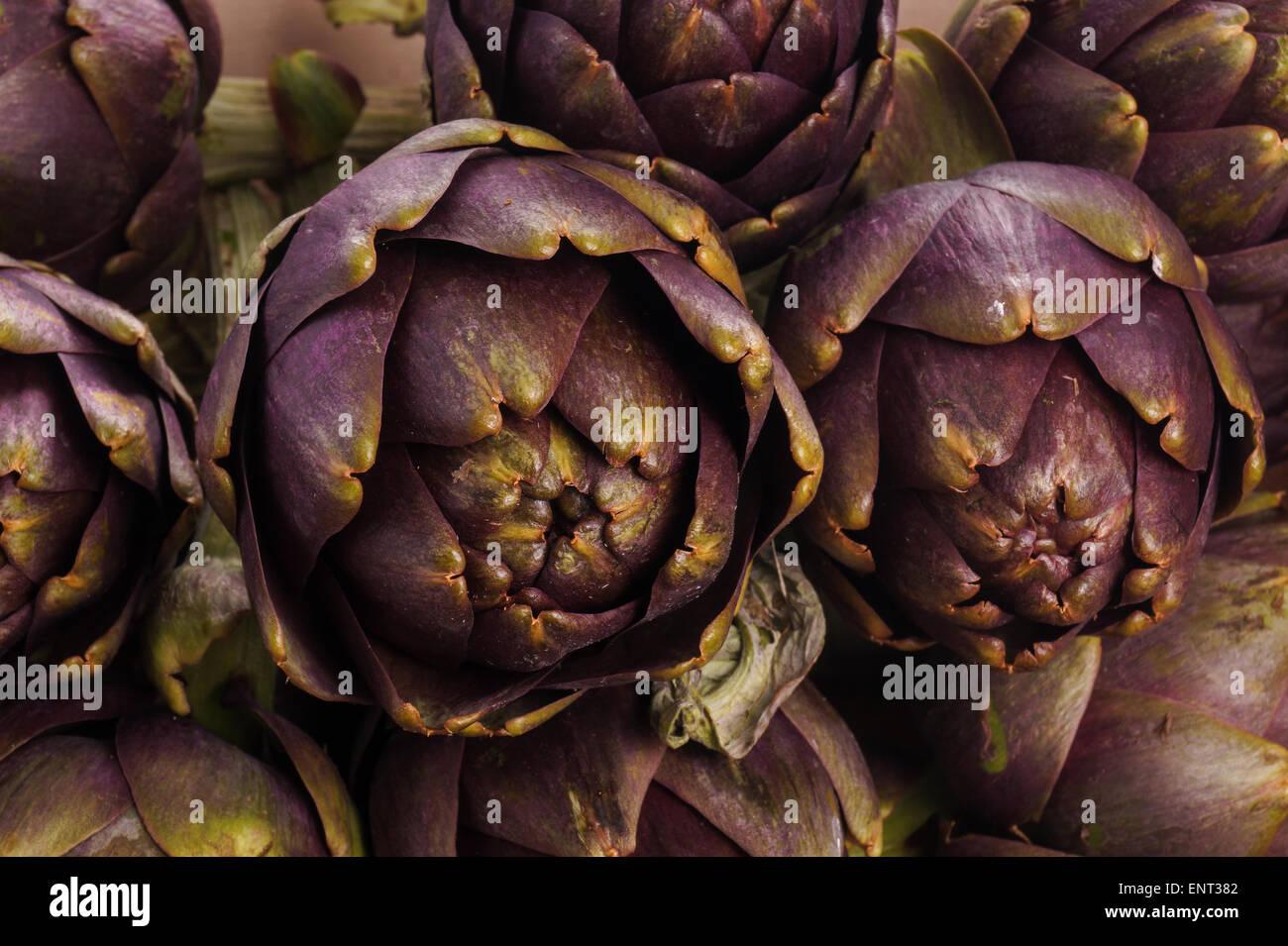 Haufen von lila Artischocken kochbereit Stockbild