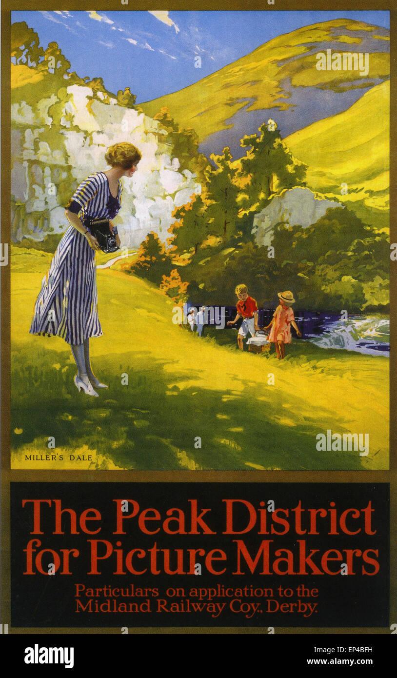 PEAK DISTRICT späten 20er Jahre Anfang der 30er Jahre Poster präsentiert die fotografischen Möglichkeiten Stockbild