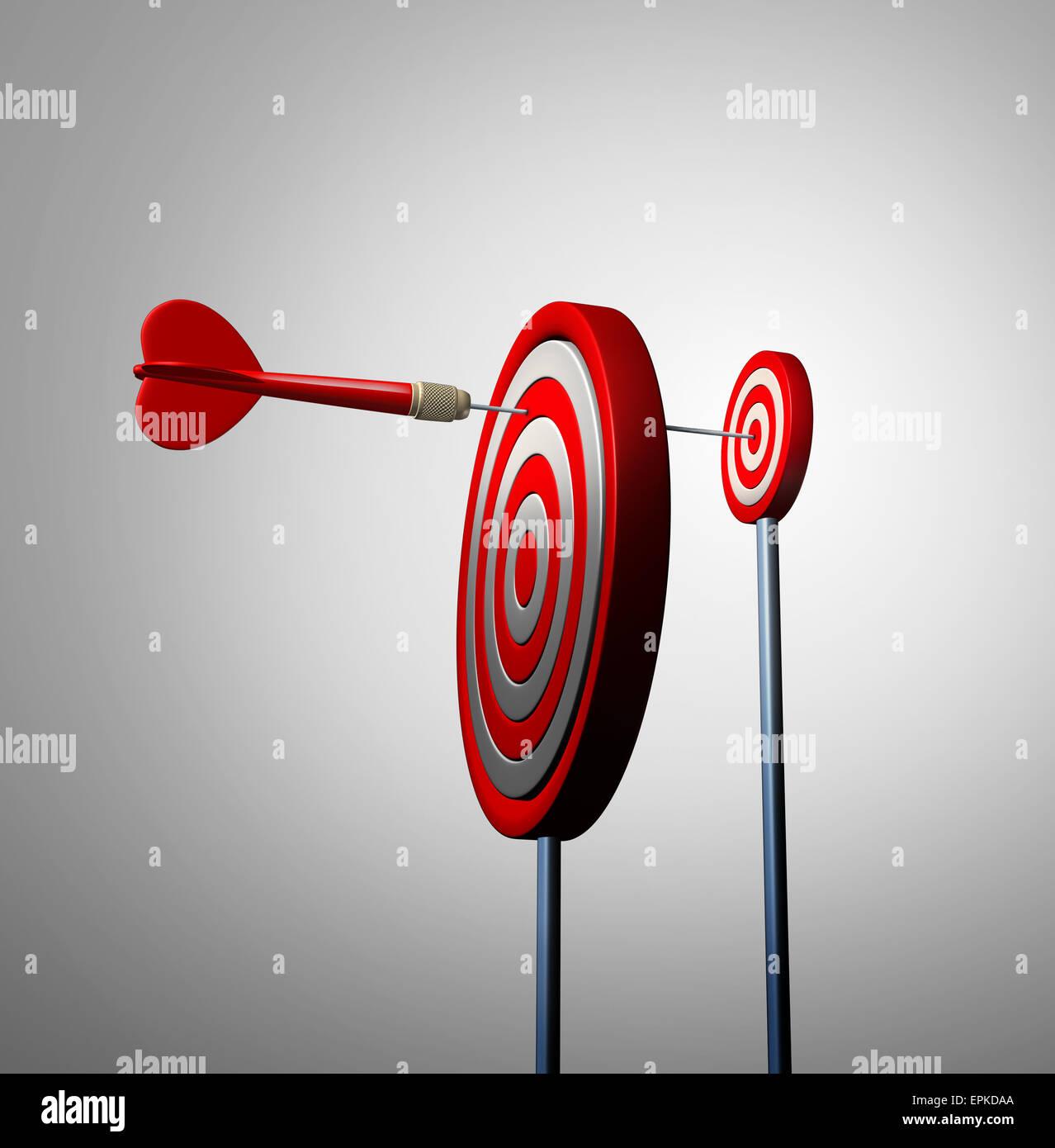 Finden Sie Gelegenheit aus Sicht und verborgenen Möglichkeiten Geschäftskonzept als einen roten Pfeil Stockbild